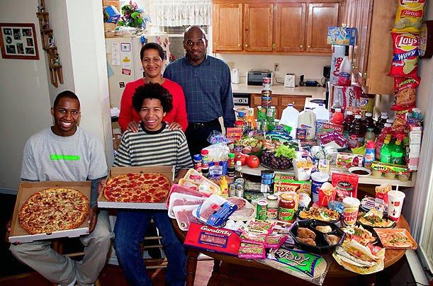A mesa de famílias ao redor do mundo