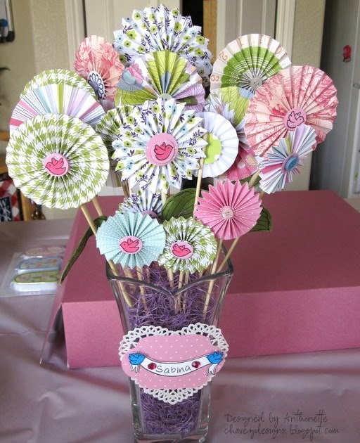 Chavez Designs Paper Rosette Flower Arrangement Using