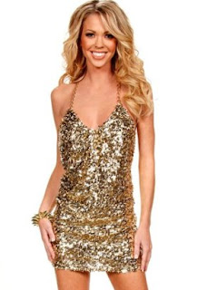 Sequin Mini Dress with Chain Straps