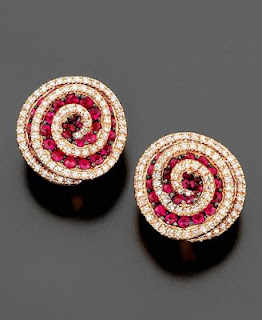 14k Rose Gold Earrings(Ruby and Diamond)