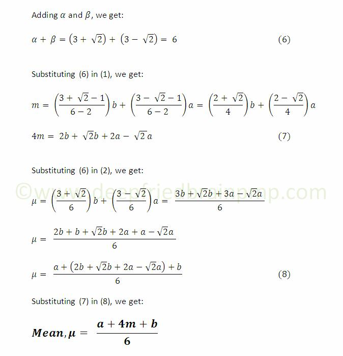 Derivation of Mean / PERT