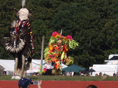 This colorful outfitted dancer is from the new rave city Native American group