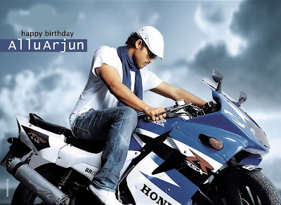 allu arjun rideing honda sports bike in arya 2 ?