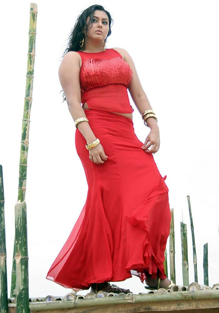 namitha hot look in red skin fit dress