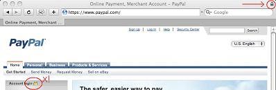 PayPal main page in Safari