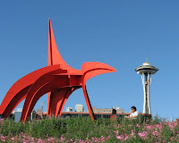 Calder sculpture and the Seattle Space Needle, from a visit in 2007