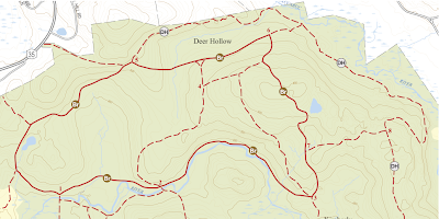 Trail map of northern Ward Pound Ridge Reservation