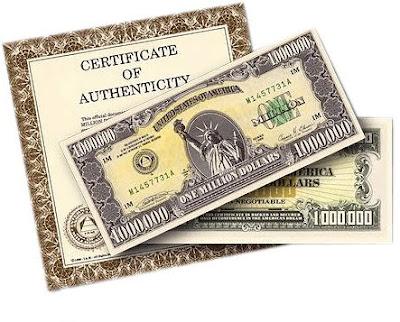 Brinde Grátis Nota de 1 milhão de Dóllares