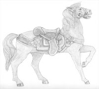carousel horse drawing