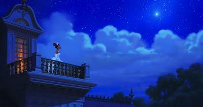 Tiana sin el sapo en el balcon