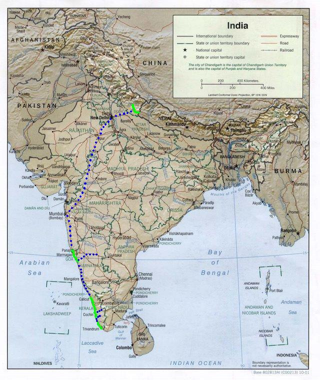 Kilometros en India 1.060 / Total 12.585 kms.