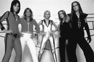 black and white photo of the runaways band