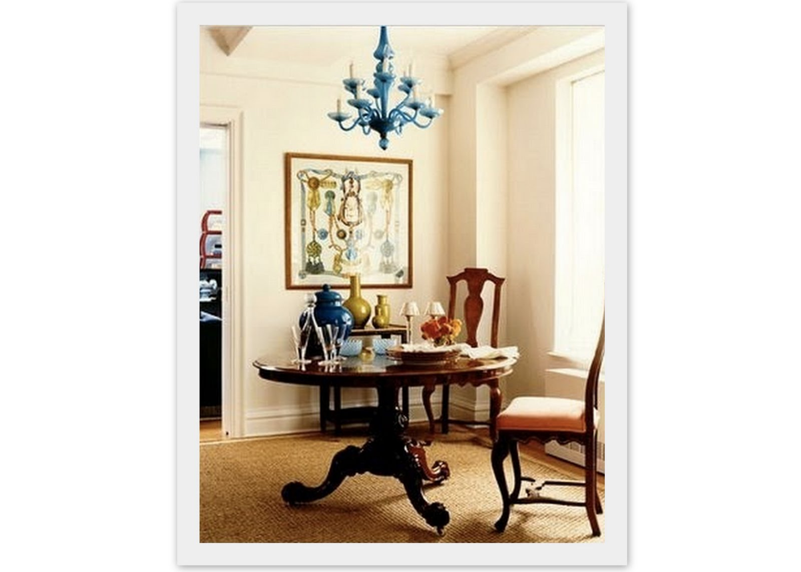 a beautiful use of a framed hermes scarf in ivanka trumps new york apartment from blue hydrangea the various blues and greens in the room all come