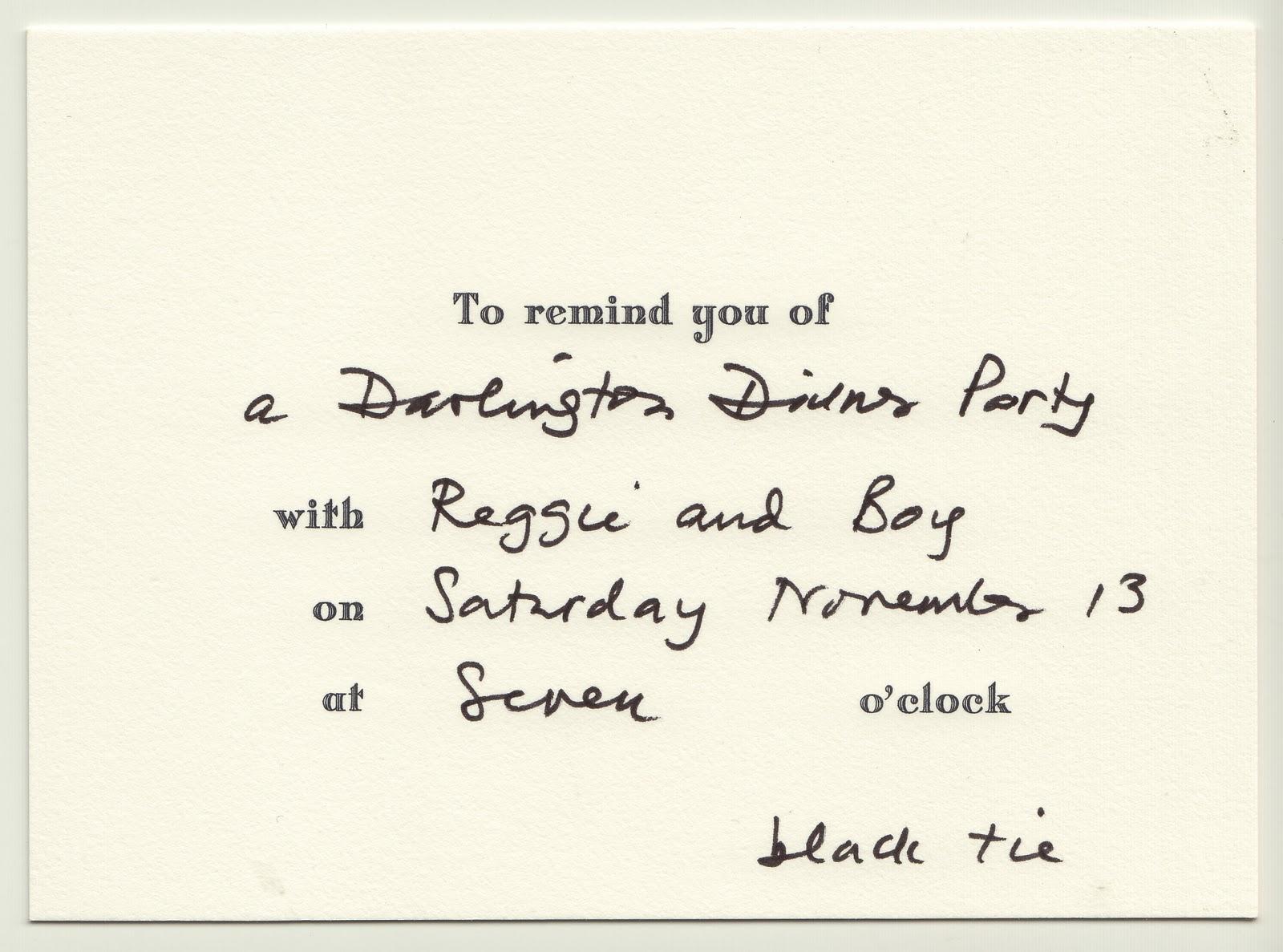 Reggie Darling An Autumn Black Tie Dinner At Darlington