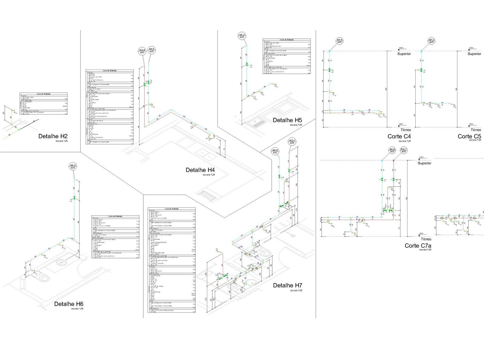 Projeto de Instalação hidráulica de água quente/fria esquema  #3D8E5F 1600 1151