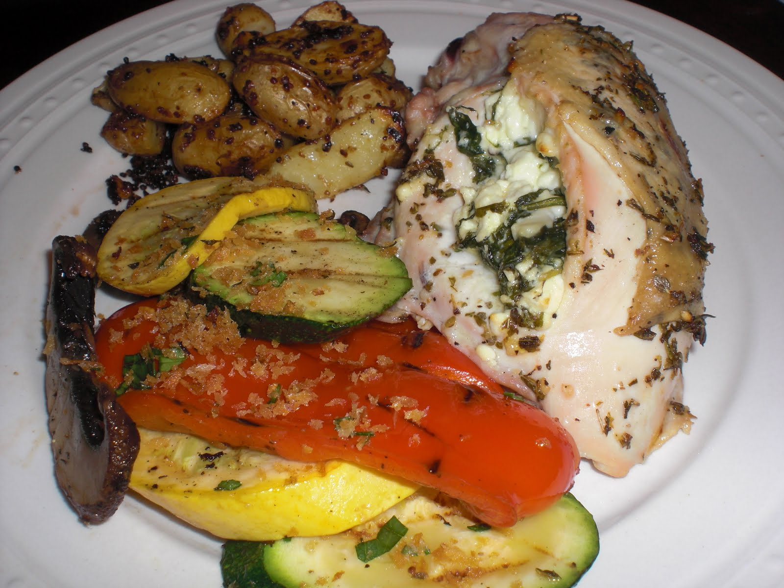 chicken stuffed with roasted red peppers and feta