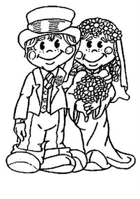 par+de+noivos+para+colorir Pinta os noivos! para crianças