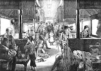 Engraving of interior of immigrant train leaving St. Paul depot, artist unknown, circa 1880 (Minnesota Historical Society)