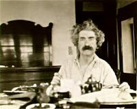 Twain having breakfast during his 1895 World Tour, in the good old U.S. of A.