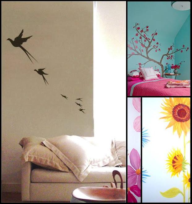 vuelo de aves, árboles floridos: armonía y elegancia en su hogar