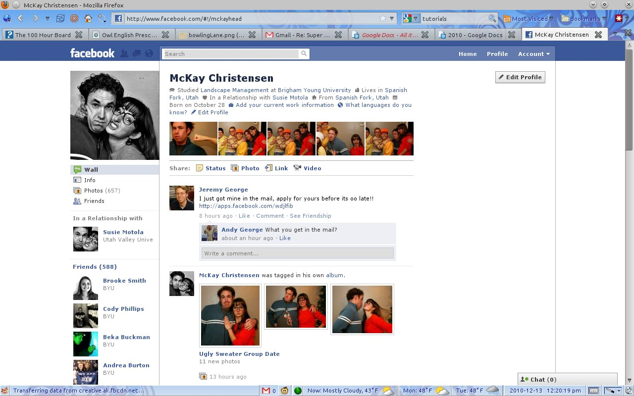 Taking advantage of Facebook's new layout to make a cool screenshot ...