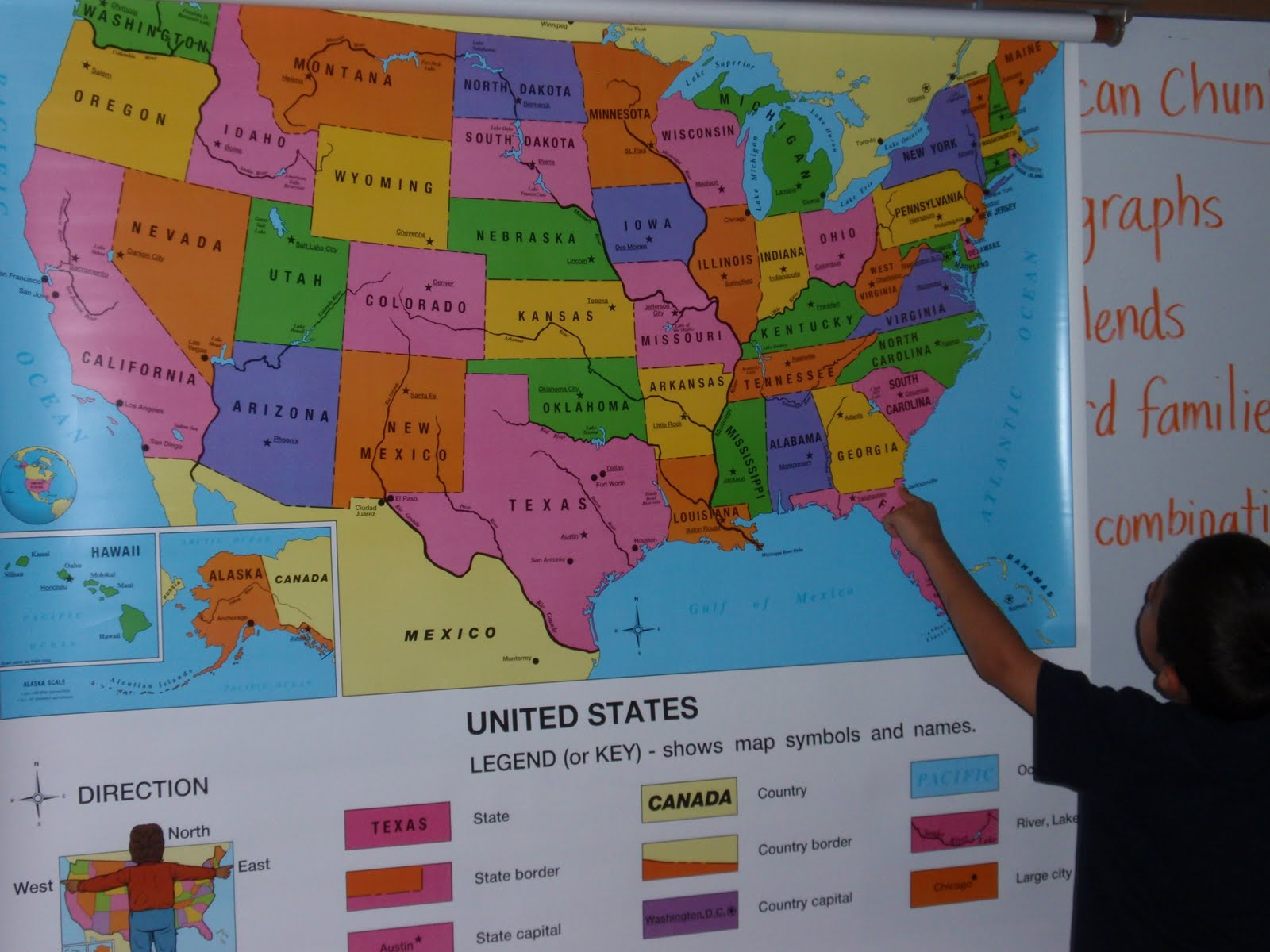 today we began studying maps in social studies we learned that this is a map of the united states of america the country we live in