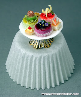 Paris Miniatures - Miniature Pastries on Shabby Chic Stand presented on paper cupcake case