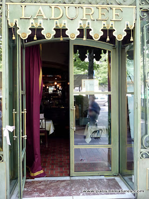 The entrance to Ladurée on the Champs Elysées