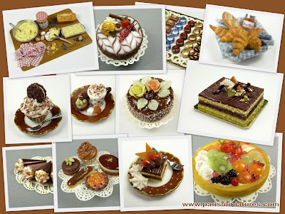 A selection of Handmade Miniature Food from Paris Miniatures including many chocolate items
