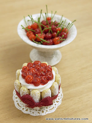Miniature Cherry Charlotte and Bowl of Cherries