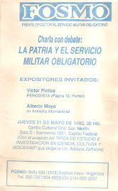 ¡Para hacer ley la suspensión por decreto del Servicio Militar Obligatorio!