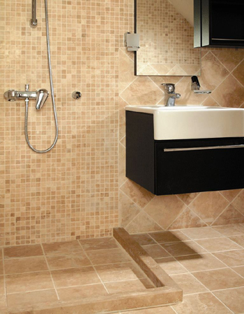 Space inspirers marble and ceramic corp travertine for the most elegant bathrooms for Travertine tile bathroom ideas