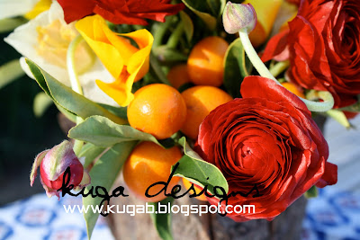 Yellow Wedding Flowers on Used Red Rununculas   White Daffodils  Kumquats On The Branch  And