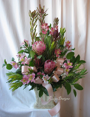 lemon leaf pink protea and a soft pink bow Happy Valentines Day