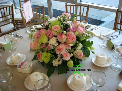 Pink and green wedding centerpieces Pink and green wedding centerpieces