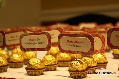 Wedding Places on Box Filled With Candies  Alternating Pink And Gold  At Every Place