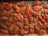 A pan of oven-dried tomatoes