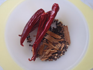 The spices for the skin sausage, or cotechino: dried hot peppers, cinnaom, coriander, clove, and black pepper