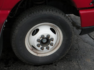 Front all season M S tire on the new Bathurst High School multifunction vehicle October 19, 2009