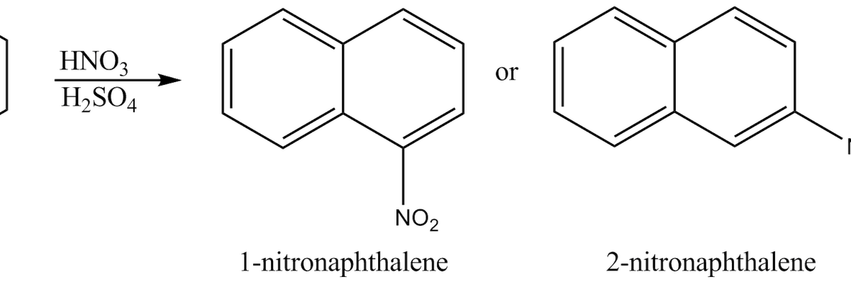 lab 1 nitration of naphthalene The kinetics of the nitrous acid catalysed nitration of naphthalene in aqueous trifluoroacetic acid and in mixtures of methanesulphonic acid and acetic acid involve a term that is second-order with respect to the aromatic substrate.