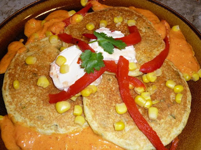 What's cookin': Mexican Masa Cakes with Chevre & Red Pepper Sauce