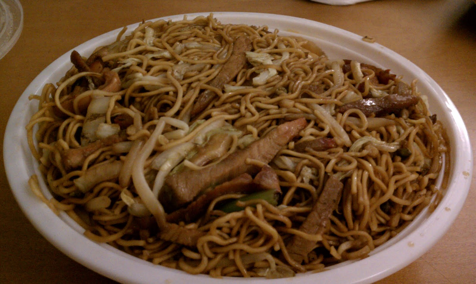 Tasty Eating Happy Family Cantonese Fried Noodles Roast Pork Over Rice