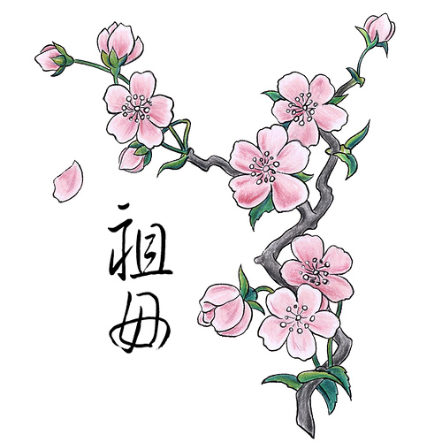 cherry blossom tattoos. cherry blossom branch tattoo