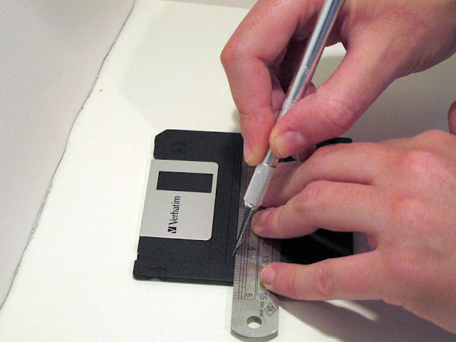 cut a floppy disc to make a cable release shutter