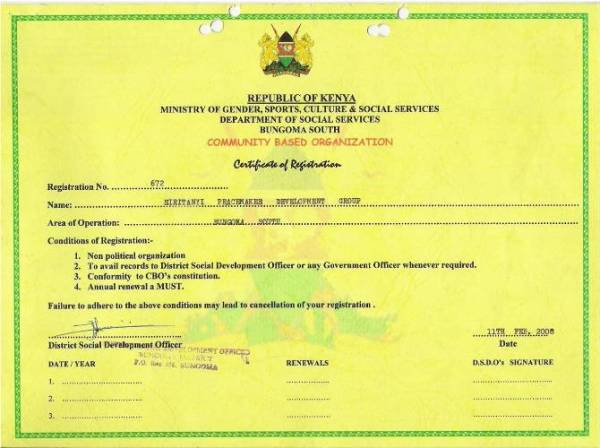 OUR CERTIFICATE OF REGISTRATION