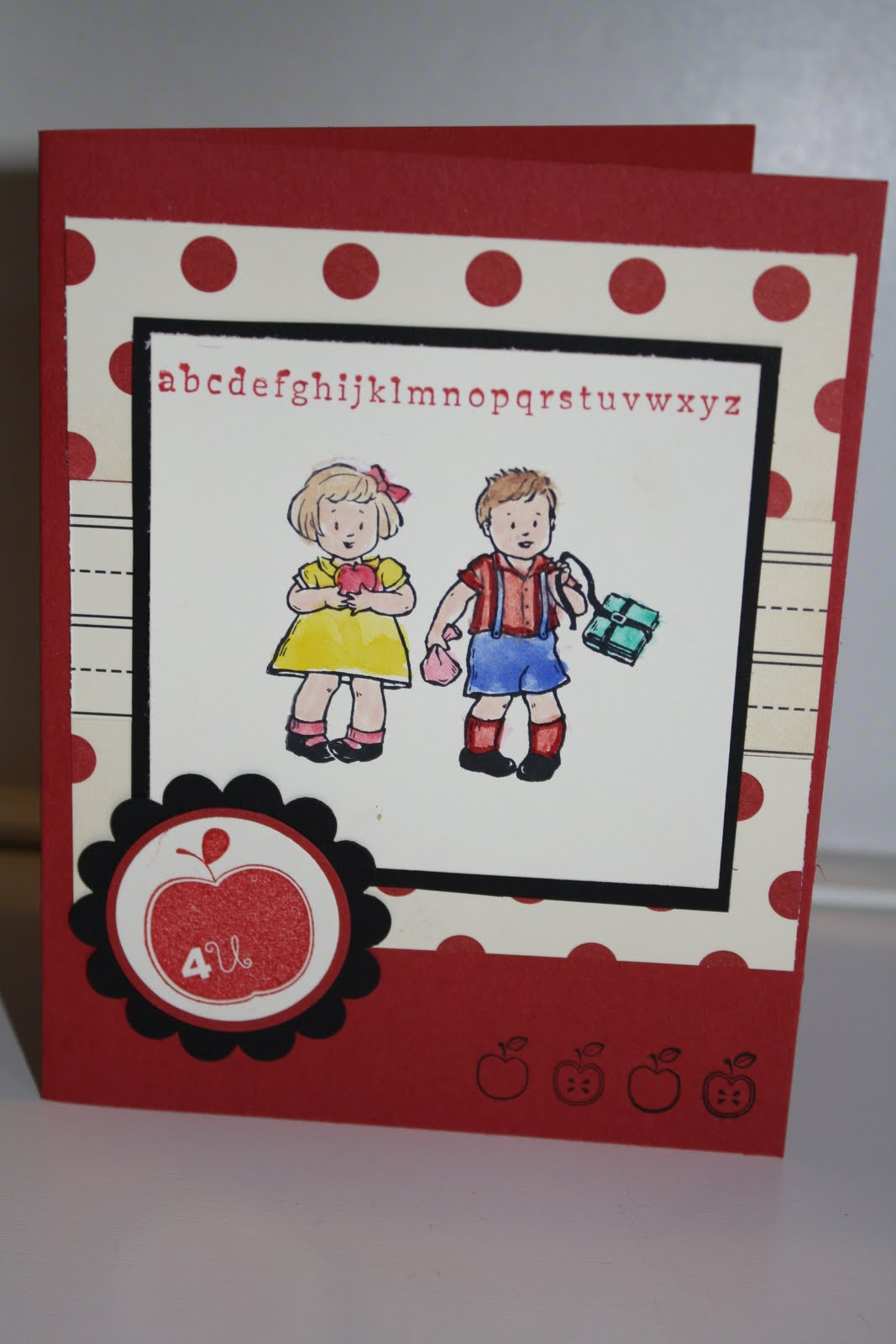 Stampin along with deb greeting card kids and first day of school i used up some scraps from the love letter dsp 117162 in making this card greeting card kids first day of school and apple blossoms are the stamp sets i m4hsunfo