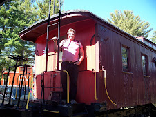 Mike on an old train car in N.H.