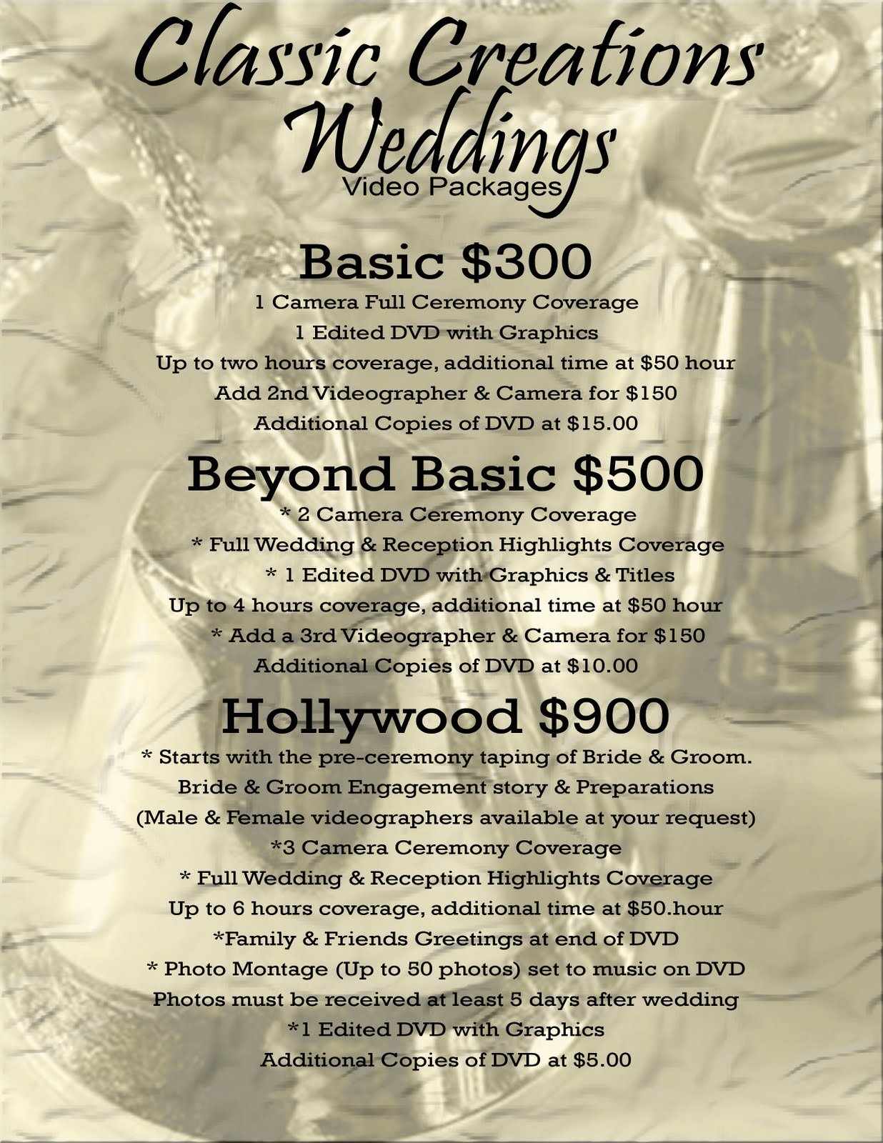 classic creations wedding wedding videography packages On wedding videographer prices