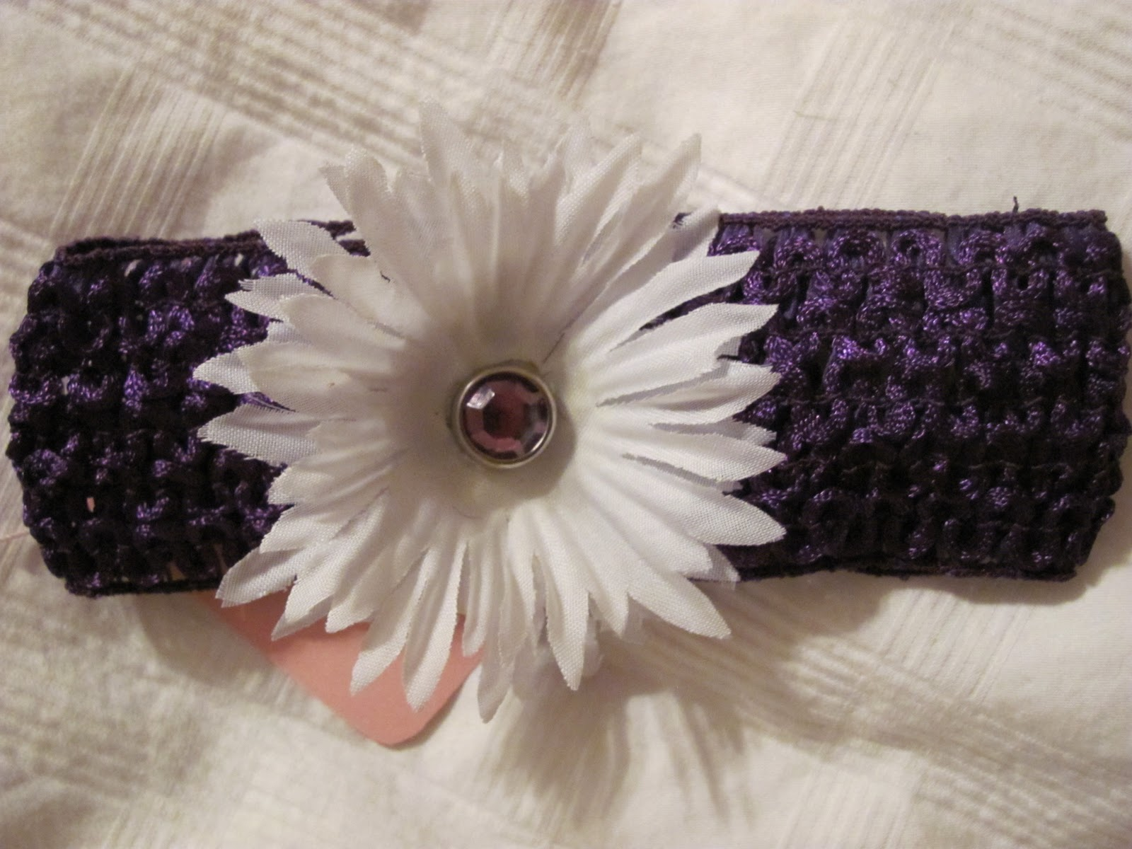 Bow peep accessories assorted colors of crochet headbands purple head band with small white flower hair clip mightylinksfo