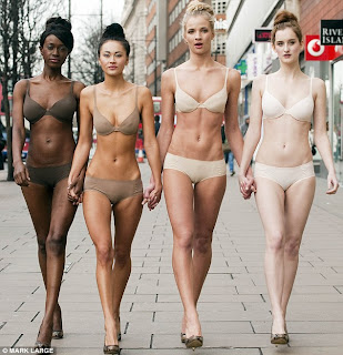 Models Joelle Kayembe, Ana Tanalia, Sarah Wiffen and Catherine Thomas wearing Mark and spencer big retailed brand new collection lingerie. this product called nearly invisible bra
